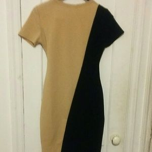 New Dresses - Tan Fashion stretchy dress with tie